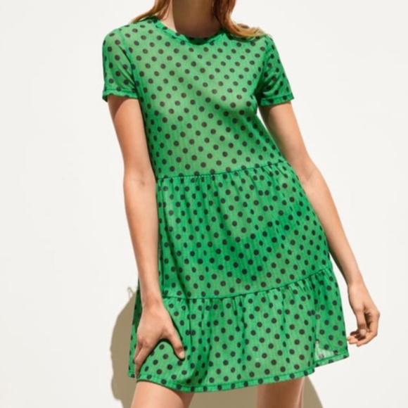 Zara Green Black Polka Dot Sheer Dress MEDIUM NWT